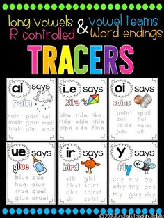 Phonics Tracers Long Vowels Vowel Teams R Controlled and Word Endings Reading Groups, Student Reading, Guided Reading, Spelling And Handwriting, Handwriting Practice, Learning Activities, Teaching Resources, Phonics Sounds, Vowel Sounds