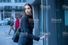 Woman pressing button, worried royalty-free stock photo