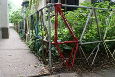 bike frame garden fence...would make a great trellis for beans :)