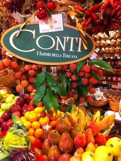 The colorful Conti banco displaying the freshest and in season produce, prepared every morning by Stefano Conti.