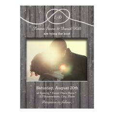Wedding Invitation Photo Cards Rustic Barn Wood Tying the Knot Photo Wedding Card