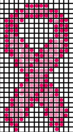 """""""April Draven: Breast Cancer Awareness Slouch Hat"""" Gathering ideas for a fundraising quilt. Bead Loom Patterns, Perler Patterns, Beading Patterns, Mosaic Patterns, Stitch Patterns, Breast Cancer Crafts, Knitting Charts, Loom Knitting, Free Knitting"""