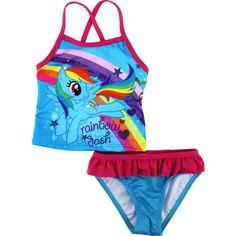 c93f38c9d7303 Amazon.com: Hasbro Little Girls' My Little Pony Rainbow Dash Tankini, Blue,  2T: Clothing