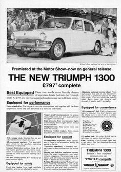 Triumph 1300 Poster Ads, Car Posters, Retro Cars, Vintage Cars, Triumph Spitfire, Van Car, Car Advertising, Car Shop, Commercial Vehicle