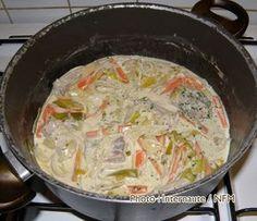 Dans une assiette, disposer les morceaux de poisson et les arroser de jus de citron saler et poivrer, laisser mariner quelques minutes. Faire suer au beurre les légumes taillés en julienne (petits bâtonnets) dans un sautoir. Mouiller avec le cidre et ajouter le sucre, laisser mijoter à couvert 20 min puis déposer le poisson et cuire 15 min. Egoutter les légumes et le poisson puis faire réduire la sauce de moitié, ajouter la crème. Napper avec cette sauce le fond des assiettes puis déposer…
