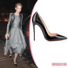 Cate Blanchett in Christian Louboutin Black Patent Leather So Kate Pumps - ShoeRazzi