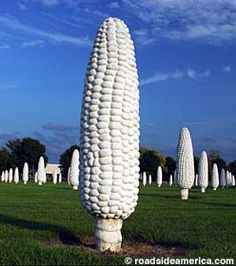 Dublin OH – A weird field of 109 six-foot-tall tall ears of concrete corn, in a suburb of Columbus. Dublin OH – A weird field of 109 six-foot-tall tall ears of concrete corn, in a suburb of Columbus. Dublin Ohio, The Buckeye State, Ears Of Corn, Roadside Attractions, Expo, Outdoor Art, Public Art, Historical Sites, Day Trips