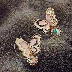 Romantic design Pretty Fashion colorful butterfly Stud Earrings For women lady style Pendientes Brincos