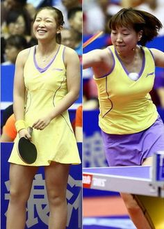 Yellow and purple table tennis outfit