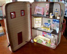 Vintage Suitcase Dollhouse: Upcycled Unique & von SuitcaseDollhouse Source by Victorian Dollhouse, Dollhouse Kits, Victorian Dolls, Modern Dollhouse, Dollhouse Miniatures, Vintage Dollhouse, Doll Furniture, Repurposed Furniture, Unique Furniture