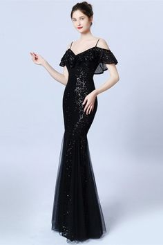 Gorgeous Ruffles Sequins Prom Dress Mermaid Long Evening Gowns Source by prom dresses long Affordable Prom Dresses, Prom Dresses Online, Elegant Dresses, Homecoming Dresses, Long Evening Gowns, Boho Dress, Ruffles, Dress Outfits, Black