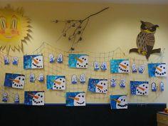 sněhuláci Art School, School Ideas, Ms, Photo Wall, Christmas, Winter Time, Activities, Arts Plastiques, Xmas
