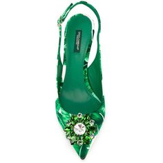 Dolce Gabbana Banana Leaf Print Slingback Pumps ($413) ❤ liked on Polyvore featuring shoes, pumps, slingback pumps, dolce gabbana shoes, sling back pumps, sling back shoes and slingback shoes