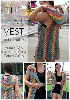 Patterns Vest The Fest Vest Crochet Pattern - Oh. I am so excited to share this fun, summer pattern with you! The Fest Vest Crochet Pattern is my new favorite thing to wear! Crochet Vest Pattern, Crochet Cape, Black Crochet Dress, Crochet Shirt, Crochet Jacket, Crochet Cardigan, Knit Crochet, Crochet Patterns, Shawl Patterns