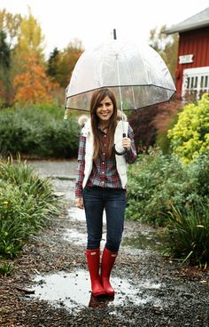 Wear It For Less: comfy weekend. I love puffer vests, especially in white!  #Hunter boots in red are really cute too