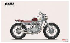 Name: 1981 Yamaha SR 250 Designer: Ian Galvin Dimensions: in Motorcycle Wallpaper, Motorcycle Style, Motorcycle Design, Vintage Motorcycles, Custom Motorcycles, Retro, Illustrations Posters, Yamaha, Character Design