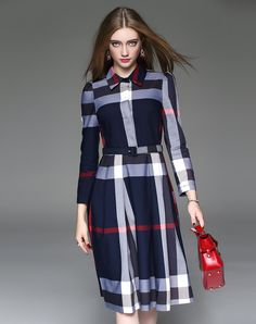 #AdoreWe #VIPme Shirt Dresses - ZERACO Long Sleeve Plaid & Check Shirt Dress - AdoreWe.com