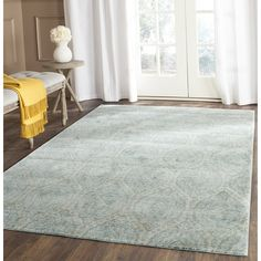 Safavieh Valencia Collection VAL206J Alpine and Cream Vintage Distressed Silky Polyester Area Rug (3' x 5') -- See this great product. (This is an affiliate link and I receive a commission for the sales)