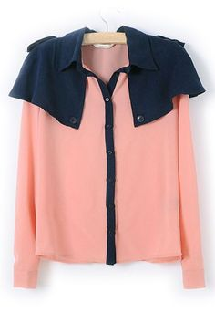 Color Block Cloak Shoulder Chiffon Shirt #Romwomen