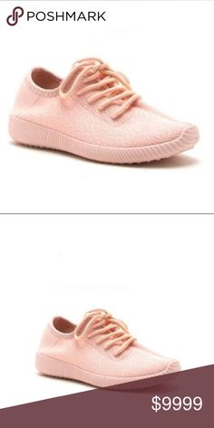 Blush Pink Sneakers These sneakers feature a flyknit design with specs and a lace up front. Cushioned arch heel area. No trades. No lowball offers. Shoes