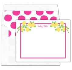 Yellow Corner Stem Flat Note Cards
