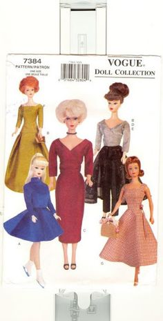 Herbie's Doll Sewing, Knitting & Crochet Pattern Collection: Vogue Doll Collection number 7384 - Vintage Pattern for Barbie, Midge and Similar Size Dolls Sewing Barbie Clothes, Barbie Sewing Patterns, Sewing Dolls, Doll Clothes Patterns, Clothing Patterns, Dress Patterns, Doll Patterns, Barbie Style, Barbie Mode