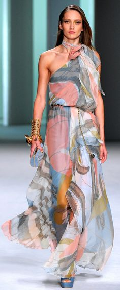 ELIE SAAB RTW Spring 2011 | one-shoulder | water color | flowy chiffon dress with painterly prints