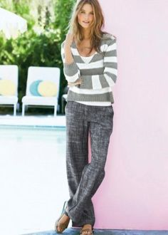 Buy Stripe Sweater And Vest Set from the Next UK online shop Linen Pants Outfit, Grey Pants, Uk Online, Latest Fashion For Women, Casual Wear, Parachute Pants, Pajama Pants, Trousers, Sweaters
