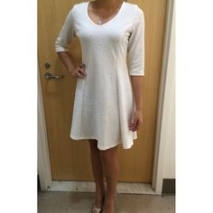 White Dress Worn twice, in perfect condition! This dress is too big on me, I'm usually a small, but I needed it to be knee-length for an event. 95% Polyester, 5% Spandex. Snap Dresses Asymmetrical