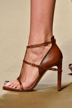 Guy Laroche Brown Leather Sandal Paris Fashion Week Spring 2015 ~ Colette @}-,-;---