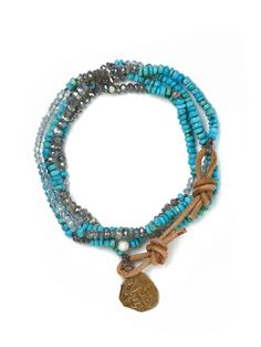 """Look what I found at LizJames.com... Lyndi - Turquoise,    aquamarine, labradorite and white coral are hand strung on silk cord and    finished with a leather and bronze coin clasp. Wrap it around your wrist or    wear it on your neck - either way Lyndi will be a great additon to your    jewelry collection! 30""""L"""