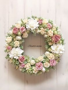 ミルキーローズリース|フラワー・リース|工房 月|ハンドメイド通販・販売のCreema Wreath Crafts, Diy Wreath, Door Wreaths, Easter Wreaths, Christmas Wreaths, Vintage Wreath, Bouquet, Deco Floral, Funeral Flowers