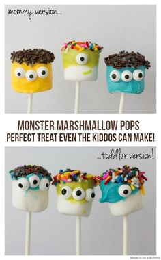 Amazingly easy Halloween party recipes - Cool Mom Picks Cute Halloween Monster Marshmallow Pops that even little ones can help make Halloween Mono, Fete Halloween, Toddler Halloween, Halloween Food For Party, Halloween Birthday, Easy Halloween, Leo Birthday, Halloween Stuff, Halloween Carnival
