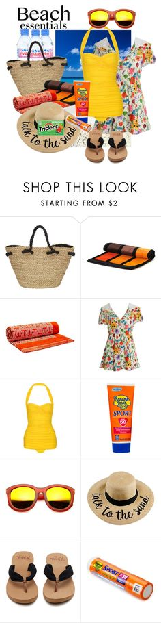 """beach essentials🌞🍉"" by daincyng ❤ liked on Polyvore featuring Evian, Sun N' Sand, Black, Tory Burch, Ken Scott, Norma Kamali, Banana Boat, ZeroUV and beachday"