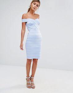 Image 4 ofNew Look Bandage Bardot Bodycon Dress