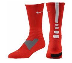 New Nike Hyper Elite Basketball Socks Mens Shoe Size 8-12 Red White Crew #Nike #Athletic