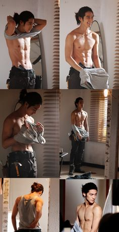 Kim Bum ugh again with the pony tail! and he's shirtless! i swear he just wants me to die. Kim Bum, Human Reference, Drawing Reference, Male Pose Reference, Figure Reference, Hot Asian Men, Asian Guys, Poses References, Body Poses