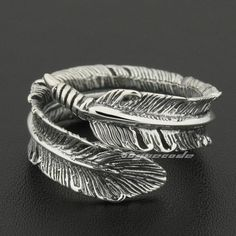 Sterling Silver Jewelry 925 Size Adjustable 925 Sterling Silver Feather Mens Rocker Ring US Mommy Jewelry, Couple Jewelry, White Gold Jewelry, Sterling Silver Jewelry, Gold Jewellery, Glass Jewelry, Fine Jewelry, Compass Jewelry, Gypsy Rings