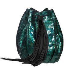 Andrea Esmeralda Bag Satchel on AHAlife Fringe Handbags, Fringe Purse, Green Handbag, Green Purse, Bucket Handbags, Ecommerce, Bucket Bag, Luxury Fashion, Style Inspiration