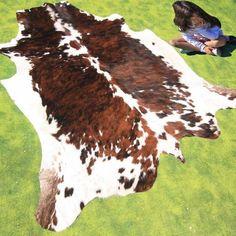 New Cowhide Rug Cowskin Mad Cow Town Hide Skin Leather Bull Carpet Throw Q55 Ebay