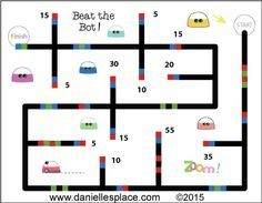"""""""Beat the Bot"""" Addtional and Multipliaction Reveiw Game with Ozobot - Children try to add up or multiply all the numbers before Ozobot reaches the finish line - Printable game sheets available on www.daniellesplace.com. Click on the image to go to Danielle's Place."""