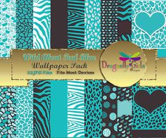 WILD About Light Teal Digital Wallpapers for Mobile Devices, Instant Download, Zebra Leopard Animal Print