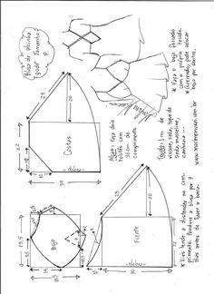 Esquema de modelagem de blusa de alcinha godê tamanho P.