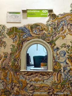 Painted Portugese #azulejos/tiles at #Sintra train station in #Portugal