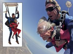 100-year-old gran Georgina Harwood has jumped out of a plane to celebrate her birthday over Cape Town, South Africa. This was the third time that the gran was skydiving, she did her first jump when she was 92.