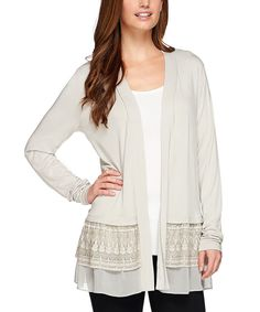 Another great find on #zulily! LOGO by Lori Goldstein Antique Stone Chiffon Open Cardigan - Plus Too by LOGO by Lori Goldstein #zulilyfinds