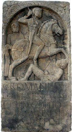 Tombstone of the auxiliary cavalryman C. Romanius Capito of ala Noricorum from Mainz-Zahlbach. Ancient Rome, Ancient History, Roman Sculpture, Lion Sculpture, Romans, Roman Legion, Celtic Warriors, Roman Soldiers, Roman History