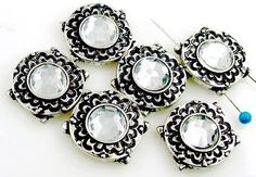 6 Art Deco 2 Hole Slider Beads 11251-f11 by MobileBoutiqueshop  Come check out our unique beads and clasps.