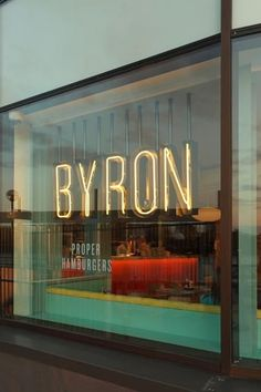 Bold Signage - For our window - Byron burgers - missing my favorite burger place in London! Signage over wallcovering? Shop Signage, Wayfinding Signage, Signage Design, Cafe Design, Store Design, Web Design, Cafe Signage, Store Front Design, Storefront Signage