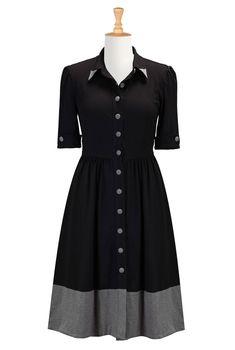 1930s dresses fashion eShakti Women's Cotton jersey knit shirtdress